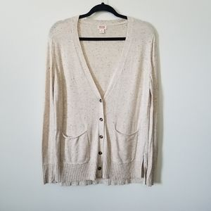 Mossimo Cream Speckled Button Up Cardigan Sweater